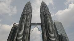 Time Lapse of Petronas Towers in Kuala Lumpur Malaysia Stock Footage