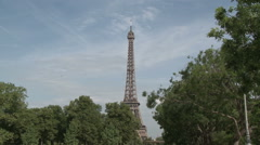 Eiffel Tower and Pont de Bir-Hakeim Stock Footage