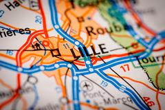 Lille City on a Road Map - stock photo