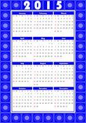 Calendar 2015 in folklore design with blue patterns - stock illustration