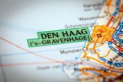 Den Haag City on a Road Map - stock photo