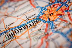 Bruxelles City on a Road Map Stock Photos