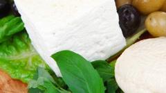 Diet food : greek feta white cheese Stock Footage