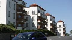 English block of flats at the sea side - stock footage
