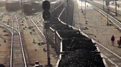 MONGOLIA CHINA TRAIN TRANSPORT COMMERCE COAL - stock footage