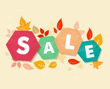 autumn sale with leaves, grunge drawn hexagons labels - stock illustration
