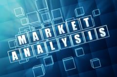 Market analysis in blue glass cubes Stock Illustration