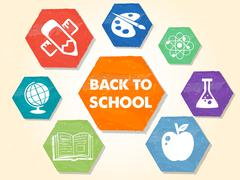 Back to school with educational symbols, grunge drawn hexagons labels Piirros