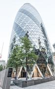 LONDON - JUNE 29: The Gherkin building in London, viewed on June 29, 2015. Th Stock Photos