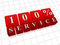 100 percent service - 3d text over red box - stock illustration