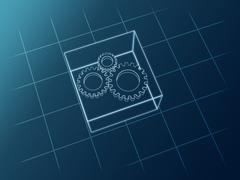 Schematic gears Stock Illustration