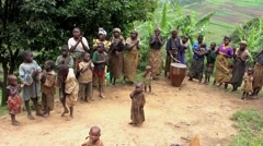 Batwa pygmies dancing at Lake Bunyonyi, Uganda Stock Footage