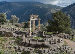 Temple of Athena Pronaia in Delphi - stock photo