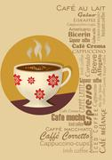 Coffee drink card with a coffee cup in typography design Stock Illustration