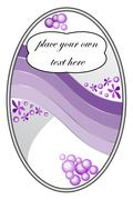 Sticker with purple gradient and floral motif Stock Illustration