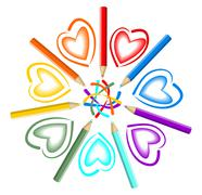 Cheerful star composed of colored pencils Stock Illustration