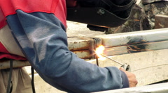 Welding safety rules being broken by home user Stock Footage