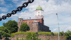 Old Swedish castle in Vyborg. Saint Petersburg Stock Footage