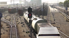 MONGOLIA CHINA TRAIN TRANSPORT COMMERCE CONTAINER - stock footage