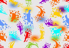 Seamless abstract background with colored splashes - stock illustration