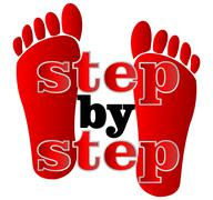 Label step by step with human traces Stock Illustration