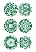 A set of green fine circle patterns - stock illustration