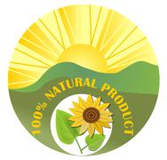 Contrasting label for natural product with sun, green landscape and sunflower Stock Illustration