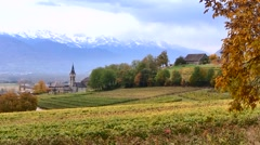 French Alps in Autumn with small chapel, France Stock Footage