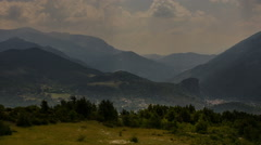 Gorges du Verdon Castellane village fields and mountains sunbeams time lapse - stock footage