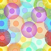 Abstract seamless background with concentric circles in pastel rainbow colors Stock Illustration