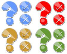 Question mark, yes, no, set of quiz button - stock illustration