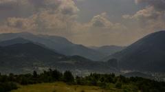 Alpes de Haute Provence Cote Azur valley between hills sunbeams 4K - stock footage