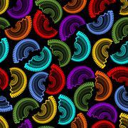 Seamless dark background with rainbow semicircle patterns Stock Illustration
