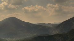 Mountain ridges in Provence Alps sunbeams time lapse - stock footage