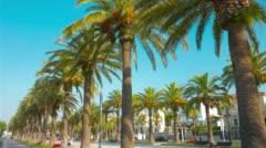 Palm trees summer promenade, Salou in Spain, Europe 4k Stock Footage