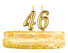 birthday cake with candles number forty six - stock photo