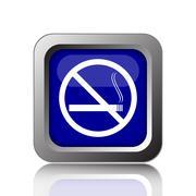 Stock Illustration of No smoking icon. Internet button on white background..