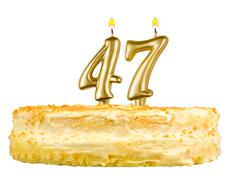 Birthday cake with candles number forty seven Stock Photos