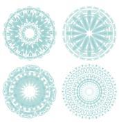 A set of light green circle lace patterns - stock illustration