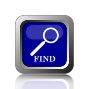 Find icon. Internet button on white background.. Stock Illustration