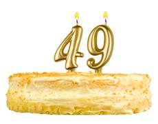 birthday cake with candles number forty nine - stock photo