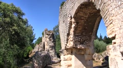 Roman Aquaduct Ruins, Provence, France Stock Footage