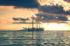 Recreational Yacht at the Indian Ocean Stock Photos