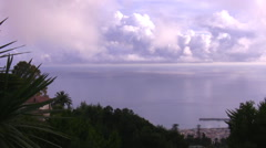 Panorama of Funchal city and Atlantic ocean Stock Footage