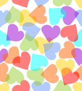 Seamless background with hearts in pastel colors - stock illustration