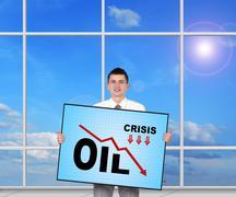 decreasing oil chart - stock photo
