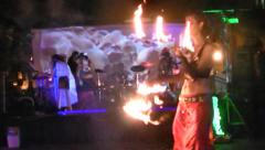 Two women fire performers, Zimbiecon, Halloween, Fort Myers, Florida Stock Footage