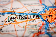 Bruxelles City on a Road Map - stock photo