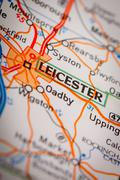 Leicester City on a Road Map Stock Photos