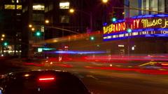 Exterior of Radio City Music Hall night time lapse Stock Footage